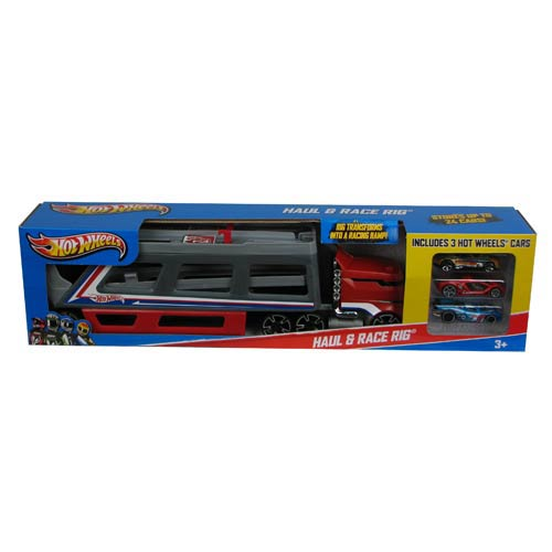 Hot Wheels Haul And Race Rig With Die-Cast Vehicles Set