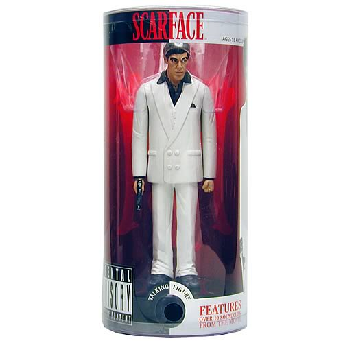 Scarface 9-Inch Explicit Phrase Talking Figure - White Suit