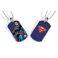 Superman Standing Blue Dog Tag Necklace