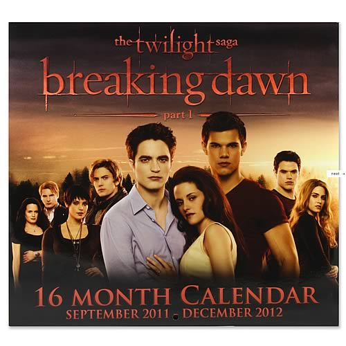 Twilight Breaking Dawn 2012 16 Month Wall Calendar