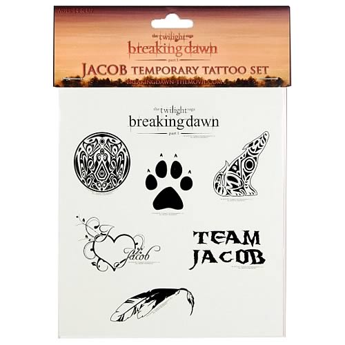 twilight breaking dawn jacob temporary tattoo neca