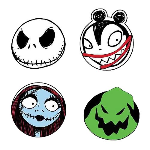 Nightmare Before Christmas Character Head Coaster 4-Pack