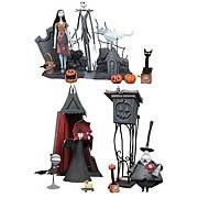 Statues > Nightmare Before Christmas - This 2004 Nightmare Before Christmas Statue Set is exclusive to official Nightmare Before Christmas Exclusive Stores!   Honoring  Tim Burtons The Nightmare Before Christmas , this amazing and gigantic set is limited to 300 pieces worldwide!  Includes the Jack Skellington Statue, Sally Statue, Mayor Statue and Vampire Statue.    Jack Skellington Statue: All hail the pumpkin king! This 12-inch resin statue of Jack comes hand painted, complete with a graveyard base, pumpkins, and his best friend, Zero.   Sally Statue: Every king needs a queen, and this 10-inch resin statue of Sally is a perfect fit to go along side the King of Halloween Town! Comes with a graveyard base that connect with Jacks, a black cat, and her deadly nightshade!   Mayor Statue: Not every politician is two faced, but this one certainly is! This 7-inch hand painted resin statue comes complete with 16-inch podium base and a head that turns 180 degrees to reveal both of his faces.   Vampire Statue: I vant to suck your blood! This hand painted, movie accurate 8-inch resin statue comes complete with his parasol and 16-inch clock tower.   For sale and distribution only within North America.: Sizes