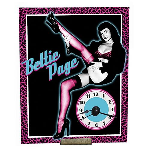 Bettie Page Large Neon Clock
