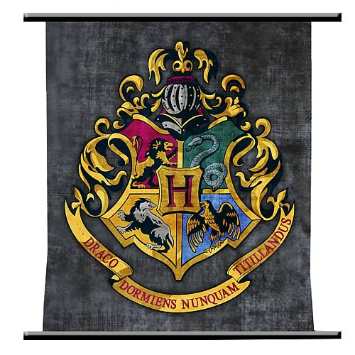 harry potter hogwarts crest wall scroll neca harry
