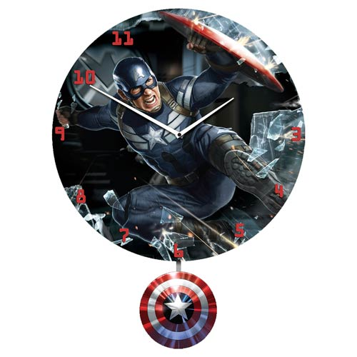 Captain America The Winter Soldier 3-D Pendulum Wall Clock