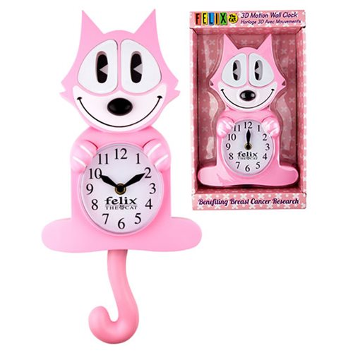 Felix the Cat Swinging Tail and Eyes Pink Clock