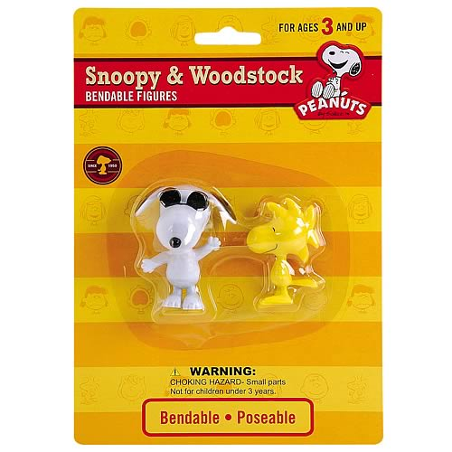 Peanuts Joe Cool Snoopy and Woodstock Bendable Figures