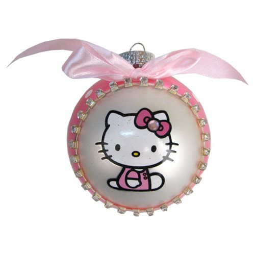Hello Kitty Bow Tie Pink Glass Ball Ornament, Not Mint