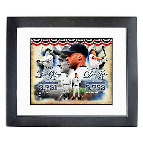 MLB Derek Jeter and Lou Gehrig Yankees Hit Leaders Photo