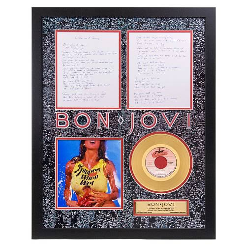 Bon Jovi Livin on a Prayer Framed Gold Record with Lyrics