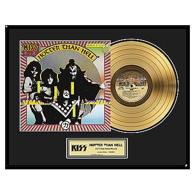 KISS Hotter Than Hell Framed Gold Record