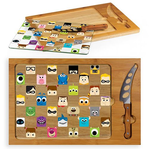 Pixar Collection Icon Glass Top Serving Tray and Knife Set
