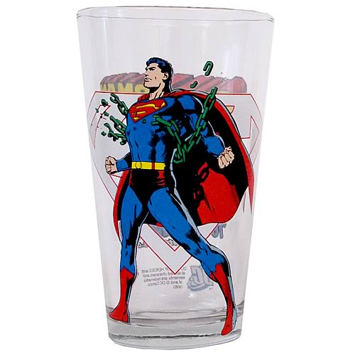 Superman Toon Tumbler Pint Glass