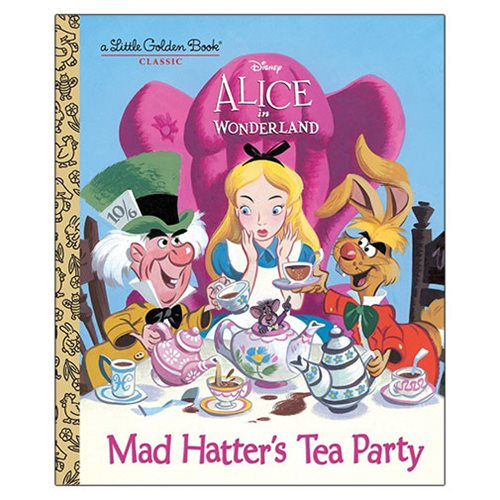 Have a merry unbirthday with the Mad Hatter! This Little Golden Book retells the story of Walt Disney's Alice in Wonderland that was first published in 1951. The Alice in Wonderland Mad Hatter's Tea Party Little Golden Book is a must have for Disney fans. The 24 page book measures about 8-inches tall x 6 3/5-inches wide.