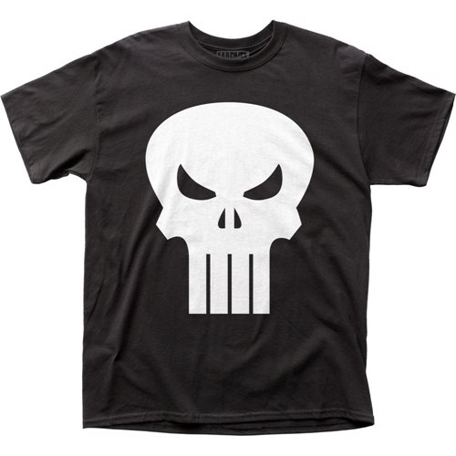 Punisher White Skull Logo Black T-Shirt