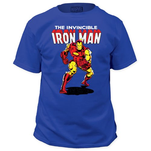 The Invincible Iron Man Classic Comic Look Blue T-Shirt