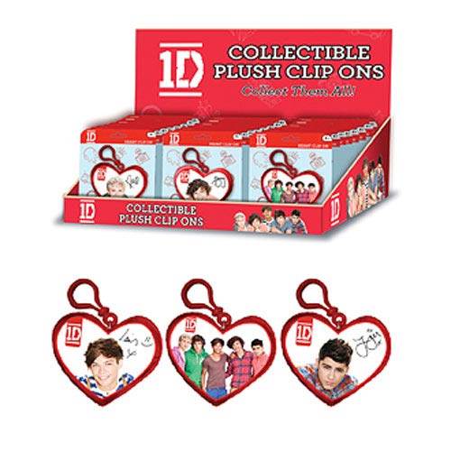 1D Heart Clip-On 4-Inch Plush Key Chain Display Box