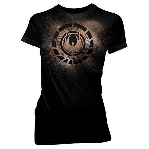 Battlestar Galactica Phoenix Crest Juniors Black T-Shirt