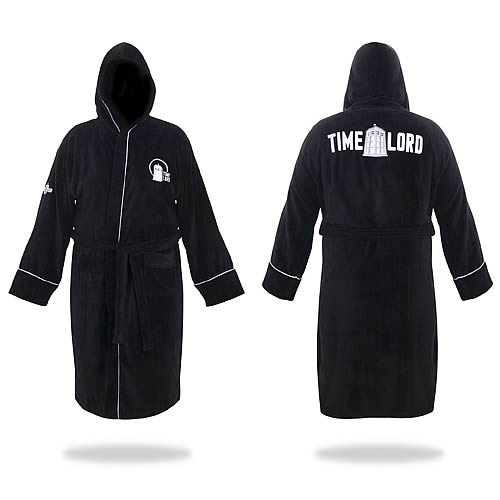 Doctor Who Time Lord Black Hooded Cotton Bath Robe