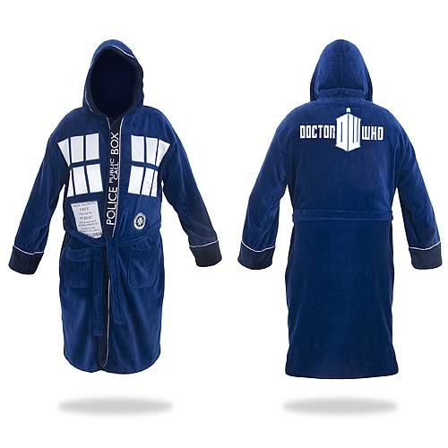 Doctor Who TARDIS Hooded Blue Cotton Bathrobe