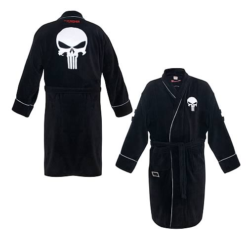 Punisher Black Cotton Bath Robe