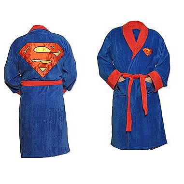 Superman Blue Fleece Bath Robe Kids Large