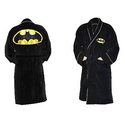 Batman Black Fleece Bath Robe Kids Medium