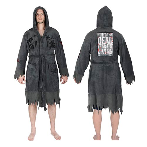 The Walking Dead Do Not Open Hooded Fleece Bath Robe