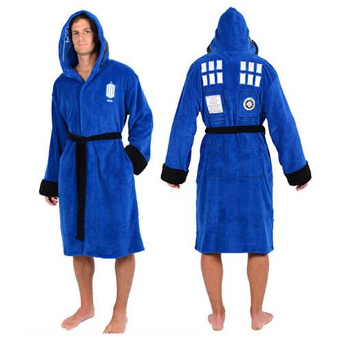 Doctor Who TARDIS Police Box Hooded Fleece Bathrobe