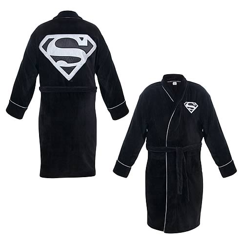 Superman Black and Silver Cotton Bath Robe