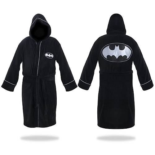 Batman Black and Silver Hooded Cotton Bath Robe
