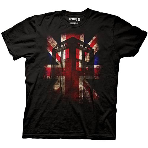 Doctor Who TARDIS and Union Jack Black T-Shirt