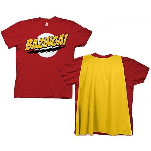 Big Bang Theory Bazinga With Cape Red T-Shirt