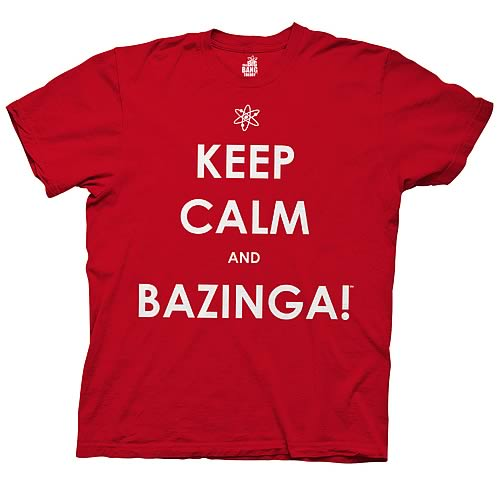 Big Bang Theory Keep Calm and Bazinga Red T-Shirt