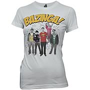 Big Bang Theory Bazinga Group Gray Juniors T-Shirt