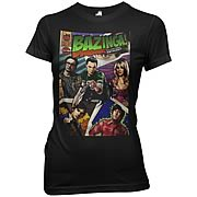 Big Bang Theory Bazinga Comic Cover Black Juniors T-Shirt