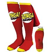 Big Bang Theory Red Bazinga Caped Socks