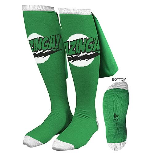 Big Bang Theory Green Bazinga Caped Socks
