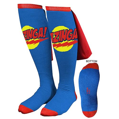 Big Bang Theory Blue Bazinga Caped Socks