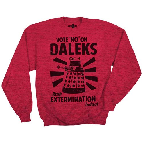 Doctor Who Vote No On Daleks Red Fleece Sweater