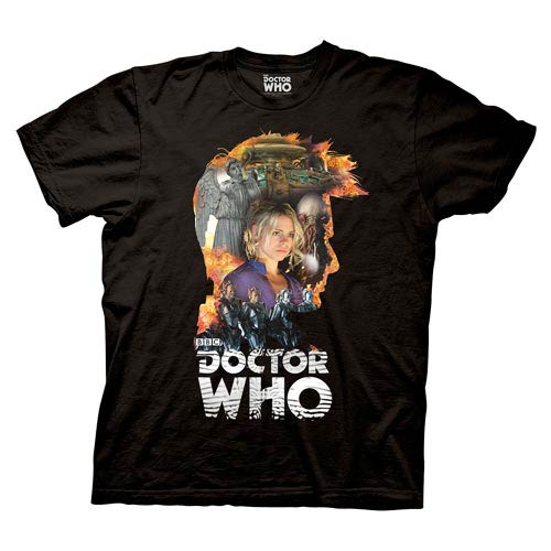 Doctor Who Head 10th Doctor Collage Black T-Shirt