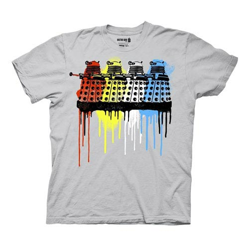 Doctor Who Rainbow Daleks Paint Drip Gray T-Shirt