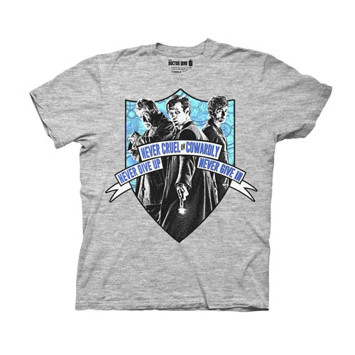 Doctor Who Never Cruel or Cowardly Crest Gray T-Shirt