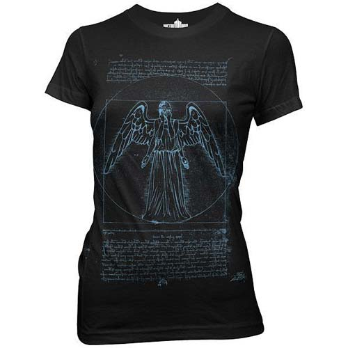 Doctor Who Vitruvian Angel Black Juniors T-Shirt