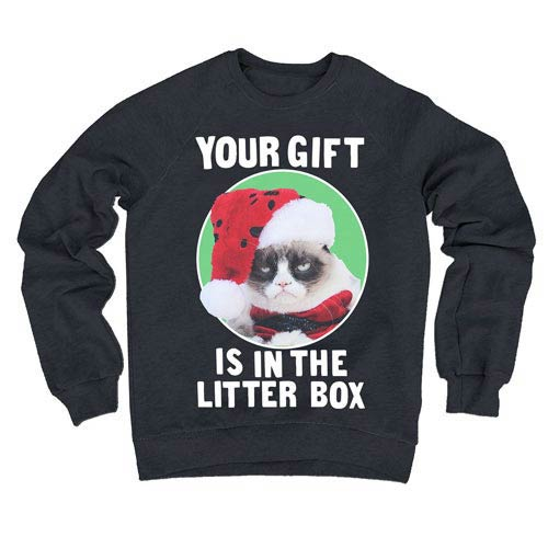 Grumpy Cat Your Gift Is In The Litter Box Fleece Sweater