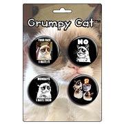 Grumpy Cat Button Set 4-Pack