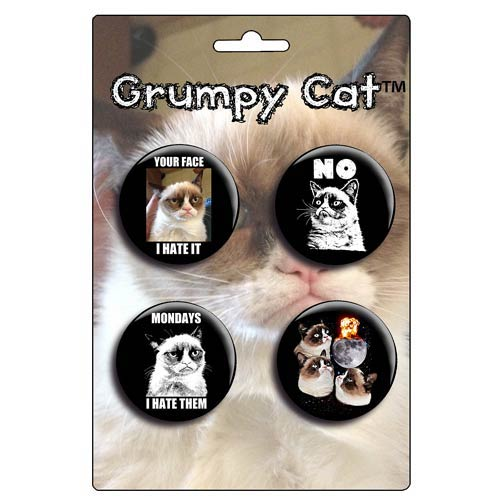 Grumpy Cat Button Set 4-Pack