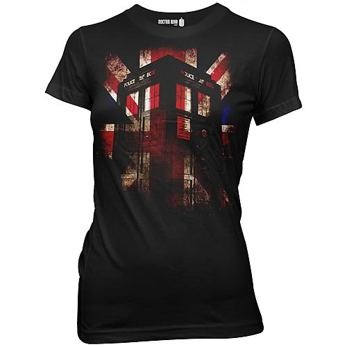 Doctor Who TARDIS and Union Jack Black Juniors T-Shirt