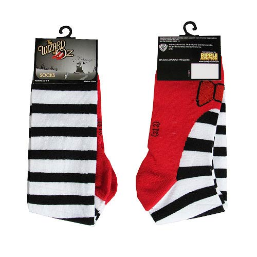 Wizard of Oz Stripes with Ruby Slippers Printed Socks
